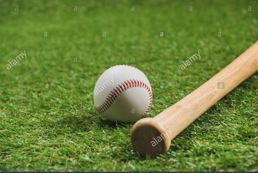 vista-cercana-del-bate-de-beisbol-de-madera-con-la-pelota-sobre-la-hierba-verde-kynb1x.jpg